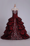 2021 Ball Gown Sweetheart Quinceanera Dresses Taffeta With Embroidery Burgundy/Maroon