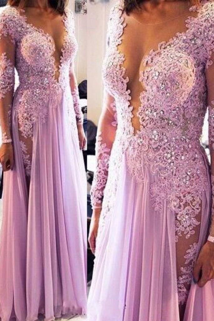 Long Sleeves Scoop Prom Dresses A Line Chiffon With Applique And Beads