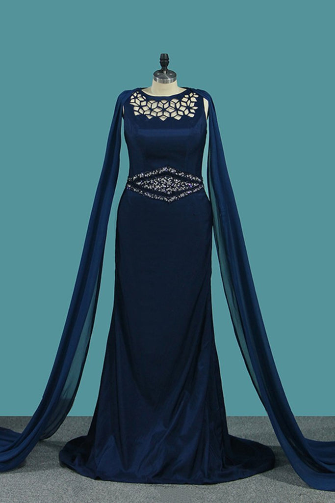 New Arrival Bateau Chiffon With Beading Mermaid Prom Dresses