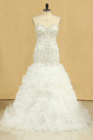 Hot Plus Size Sweetheart Wedding Dresses Mermaid Organza With Beads And Rhinestones