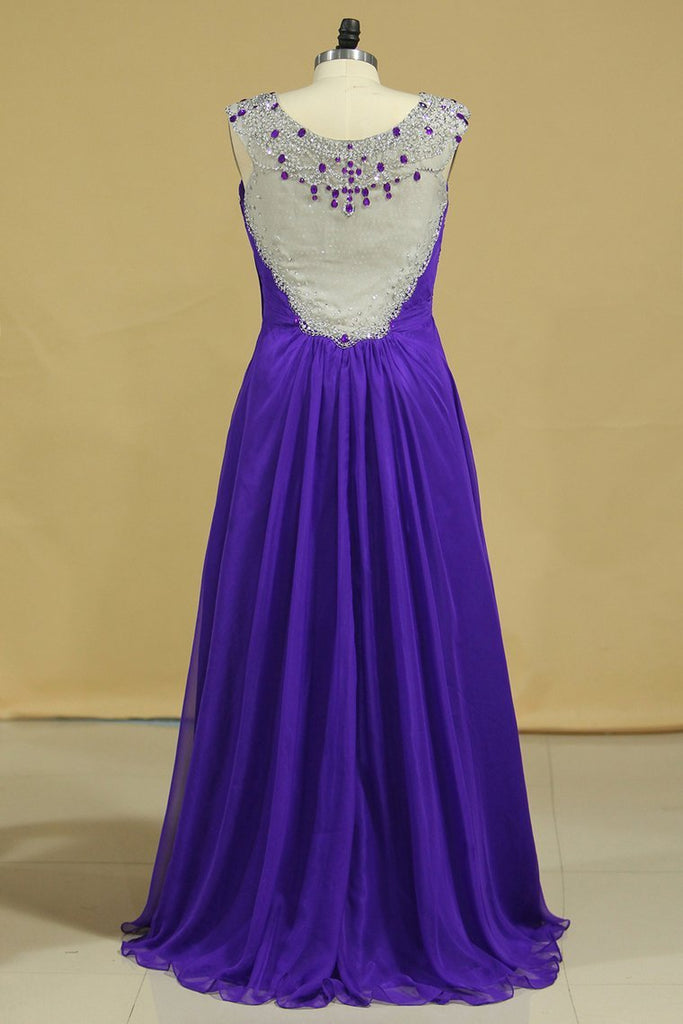 Prom Dresses A-Line Chiffon With Beads And Ruffles Regency