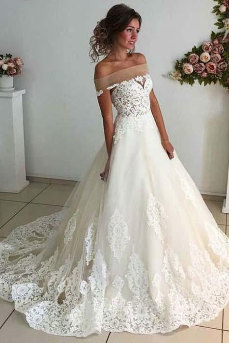 Affordable Lace Unique Off the Shoulder Online Charming Long Tulle Wedding Dress SSM279