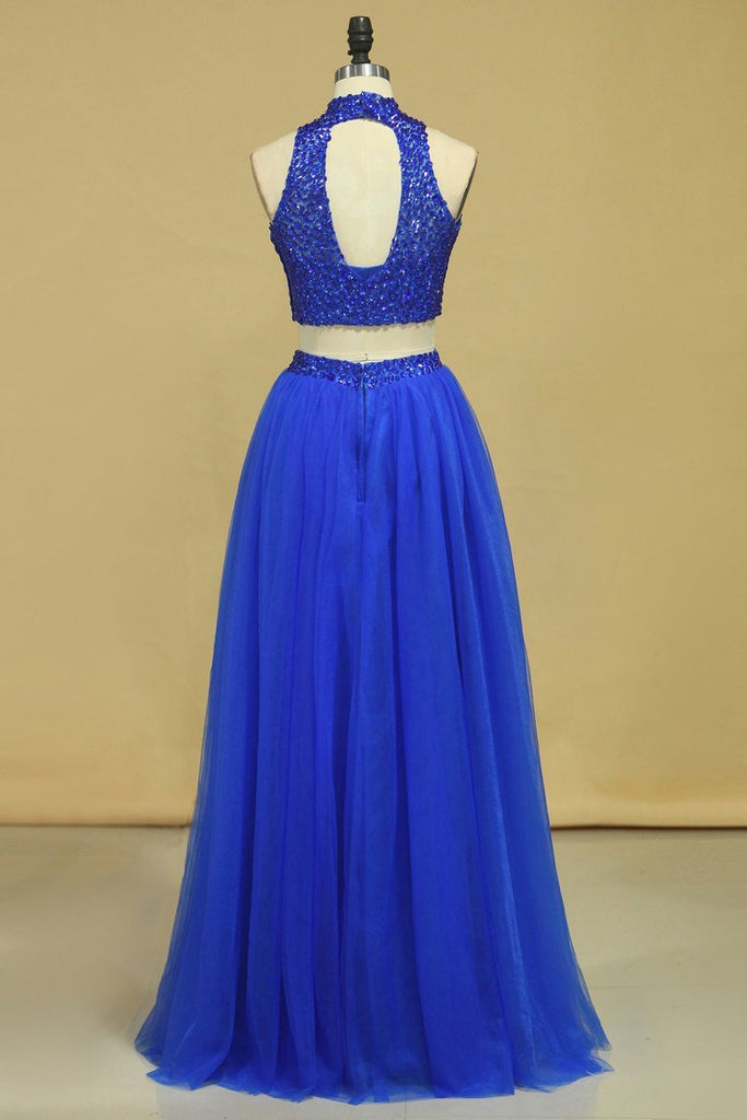 2019 Two-Piece Tulle With Beading Prom Dresses  High Neck A Line