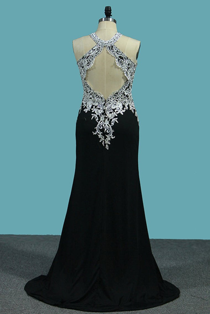 2019 Sexy Open Back Prom Dresses Scoop With Applique And Slit Spandex