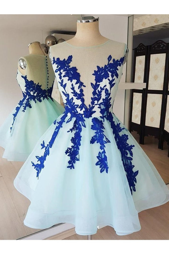 Short Lace Tulle Prom Dresses, Short Blue Lace Homecoming Graduation Dresses