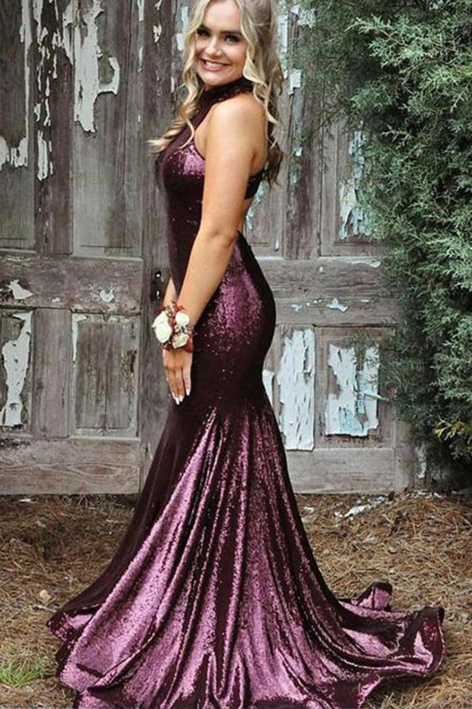 Sexy Trumpet/Mermaid Sequins Open Back Prom Dress Halter