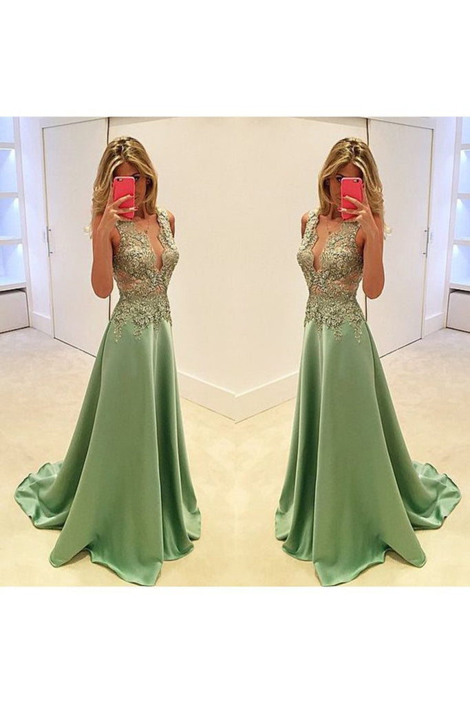 New Arrival Prom Dresses V Neck Satin With Applique And Beads A Line