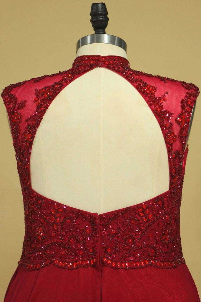 2021 High Neck  Prom Dresses Beaded Bodice Burgundy/Maroon A Line Chiffon Open Back