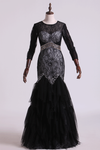 Black Mermaid Evening Dresses Scoop Open Back Long Sleeves Tulle & Lace With Beading