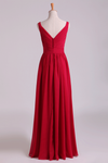 New Arrival Bridesmaid Dresses Straps A-Line Chiffon Floor-Length