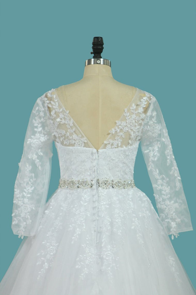 Bateau Wedding Dresses Tulle A Line With Applique And Beads Court Train