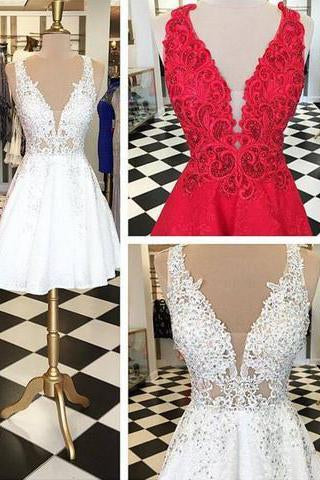Stylish V-neck Sleeveless White Lace Short Homecoming Dress Beaded JS486