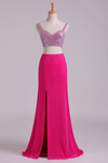 Two Pieces Prom Dresses Spaghetti Straps Sheath With Slit & Beading Chiffon