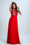 Scoop Prom Dresses A Line Chiffon With Beading Red
