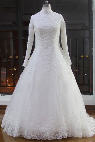 High Neck Wedding Dresses A Line Tulle Muslim With Applique