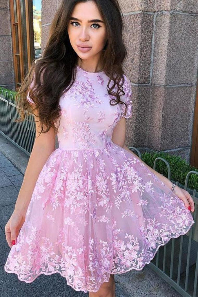 A-Line Short Sleeves Short Homecoming Dress With Lace Appliques
