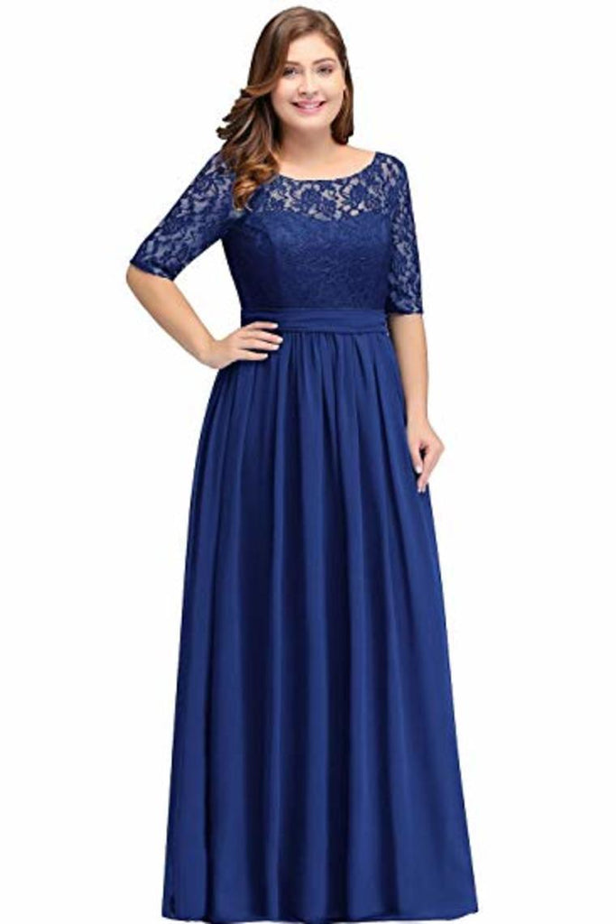 Plus Size Lace Chiffon With Half Sleeves Elegant Long Ball Evening  Dress