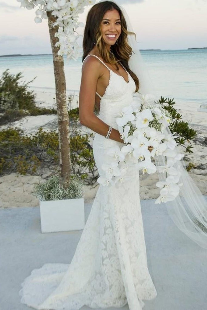 Sheath Mermaid Long Spaghetti Straps Lace Simple Beach Wedding Dresses