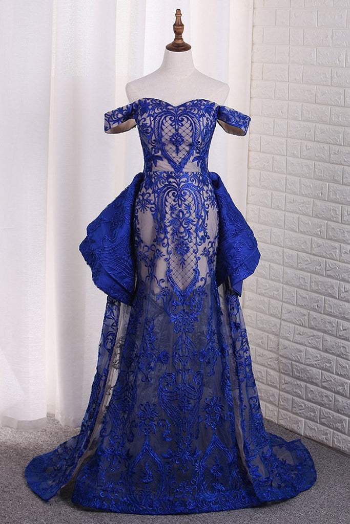 Luxurious Lace Off The Shoulder Mermaid Prom Dresses Sweep Train