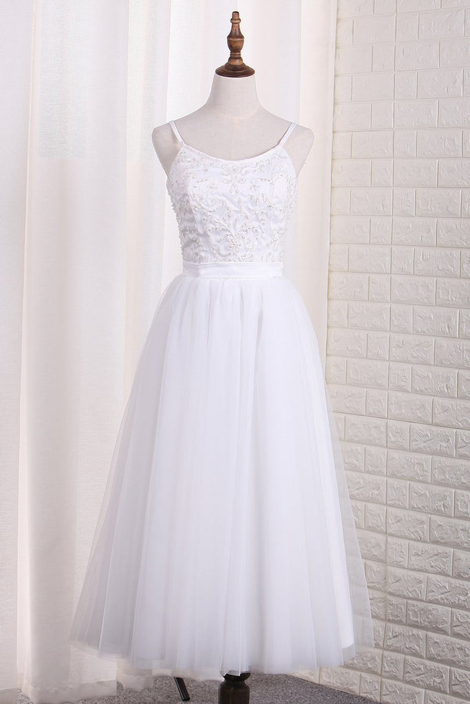 2019 Spaghetti Straps A Line Bridesmaid Dresses Tulle With Embroidery And Beads