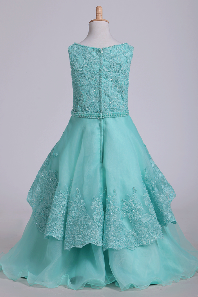 2019 Bateau A Line Flower Girl Dresses With Applique & Beads Tulle Mint