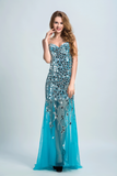 2021 Sweetheart Prom Dresses Sheath With Beading Sweep Train
