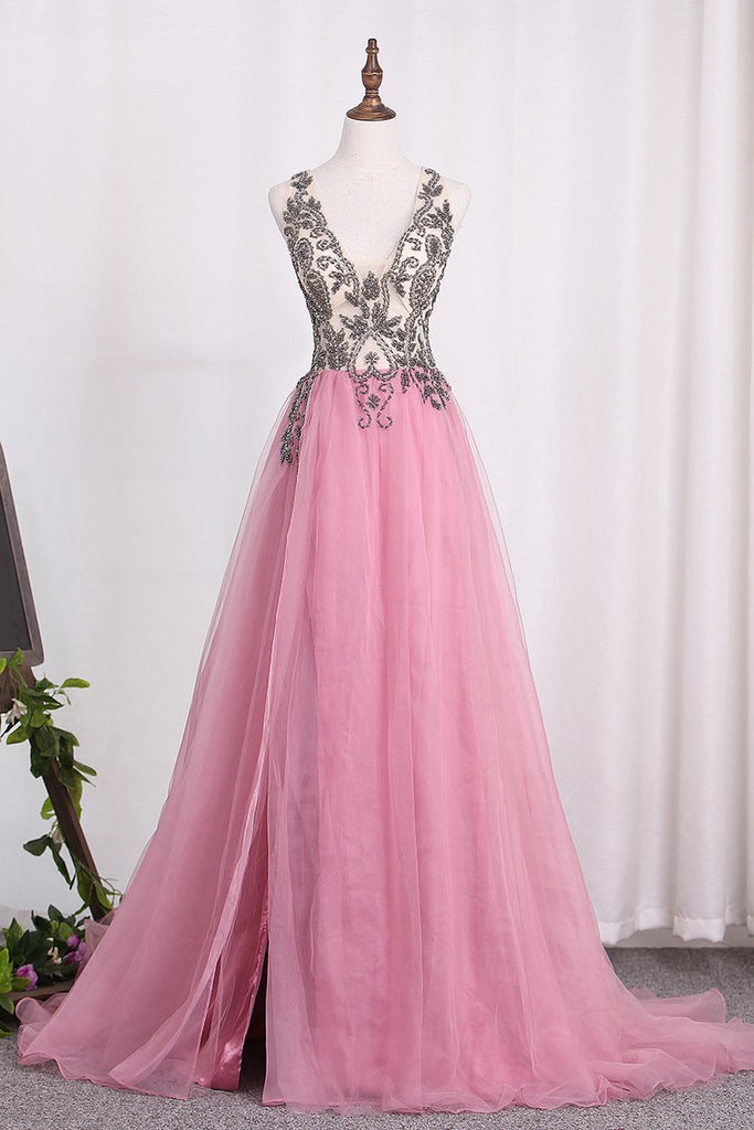 2019 New Arrival A Line Tulle Straps Prom Dresses With Beading And Slit