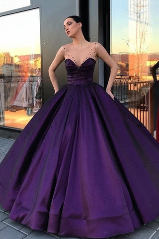 2021 Ball Gown Prom Dresses Scoop Satin With Beads Floor Length