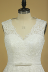 Plus Size V-Neck Wedding Dresses A-Line Court Train Tulle With Applique & Belt Covered Button