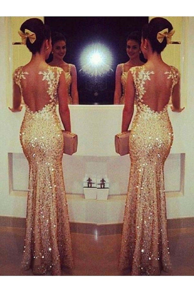 Scoop Mermaid Prom Dresses Sequins With Applique Floor Length Long Sleeves