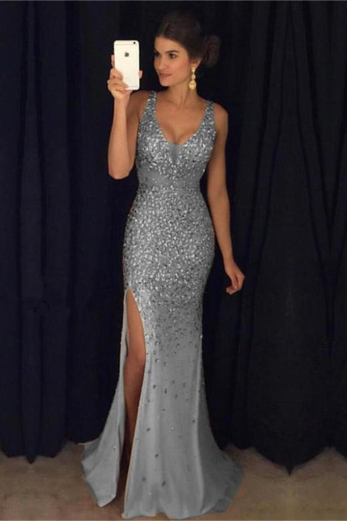Formal Charming Sheath Long Sparkly Beading Gray Evening Dresses Prom Dresses