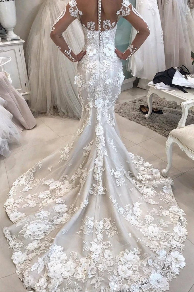 2019 Detachable Train Long Sleeves Scoop Mermaid Wedding Dresses With Applique Tulle