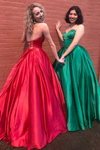 2019 SweetHeart A-Line Prom Dress Satin Floor Length Ball Gown
