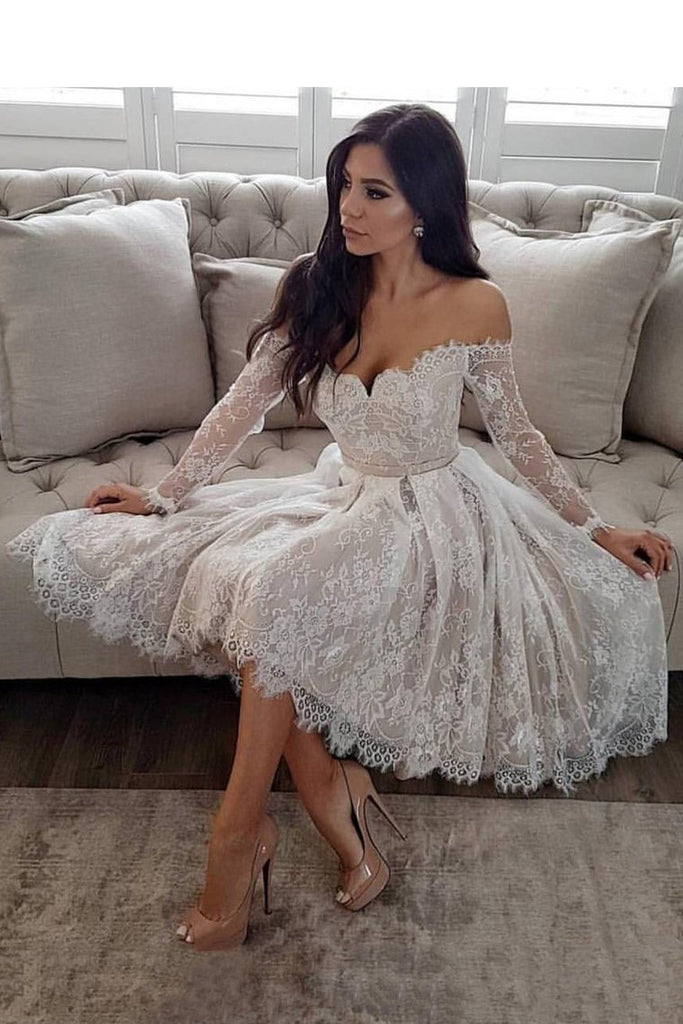 2021 Off The Shoulder Long Sleeves Homecoming Dresses A Line Lace With Sash