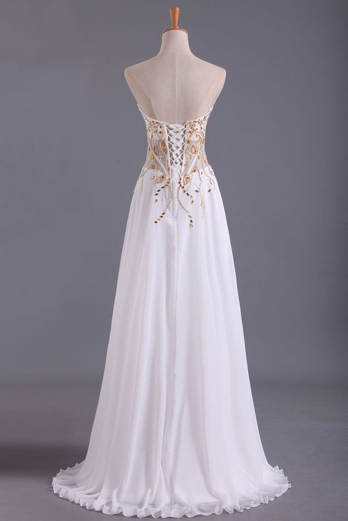 Sweetheart Prom Dresses A Line Chiffon With Beading Floor Length