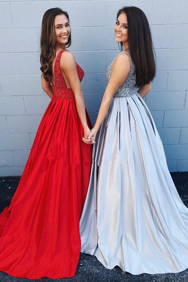 A-line Deep V Neck Beads Red Backless Long Prom Dresses With Pockets Party Dress JS421