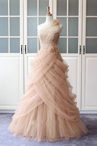 A-line One Shoulder Pink Tulle Ruffles Long Prom Dress Sexy Evening Dresses P1017