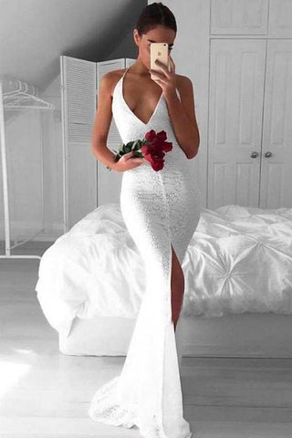 Sexy White Mermaid Deep V-Neck Criss-Cross Straps Split White Lace Prom Dresses JS698
