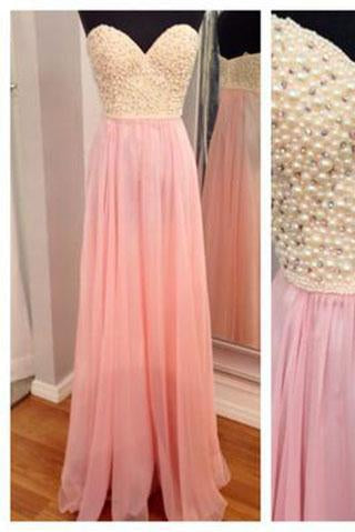 Amazing Pearls Pink Chiffon A Line Sweetheart Long Cheap Spaghetti Straps Evening Dresses JS30