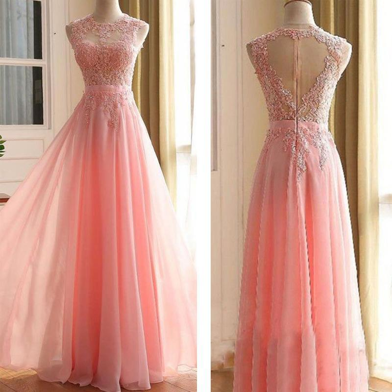 Charming Long Appliques Pink Sleeveless A-Line Scoop Elegant Prom Dresses JS782