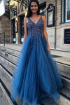 A Line Blue V Neck Beading Tulle Long Vintage Backless Prom Dresses JS87