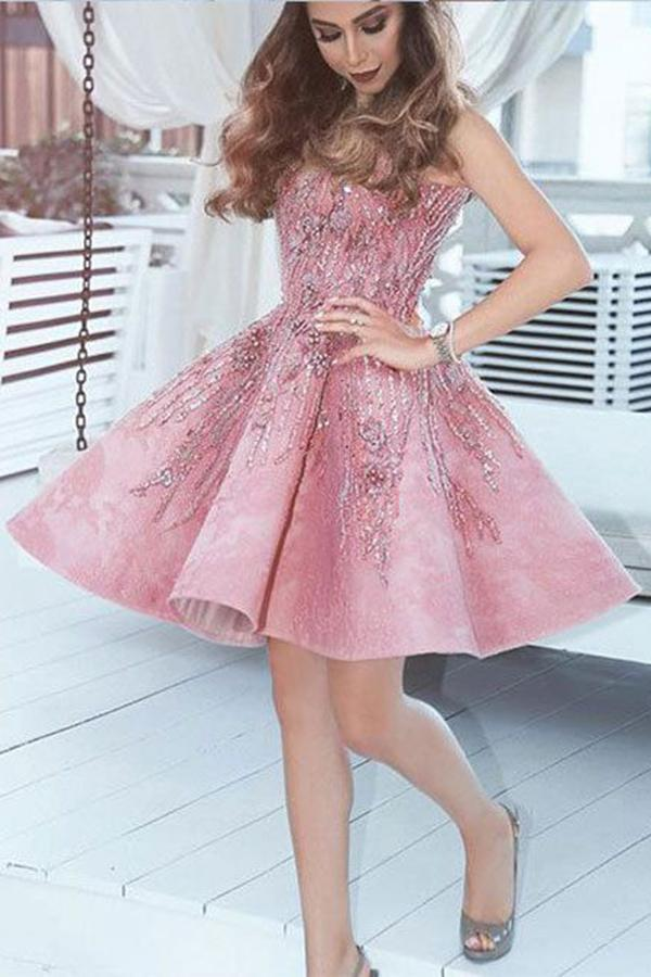 A Line Pink V Neck Lace Beads Satin Knee Length Short Prom Dresses Homecoming Dress JS676