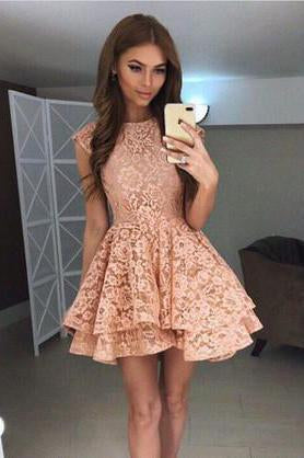 A Line Above Knee Straps Lace Homecoming Dresses with Scoop Short Prom Dresses JS838