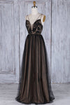 A Line Black Tulle V Neck Backless Lace Appliques Prom Dresses Simple Evening Dresses JS874