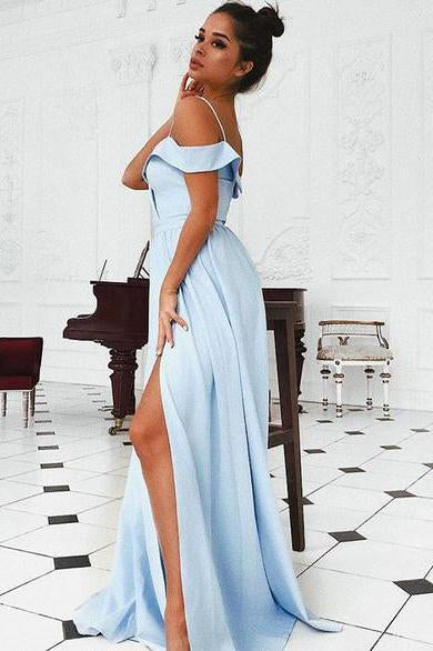 A Line Blue Sweetheart Cold Shoulder Satin Prom Dresses with Slit Long Party Dress JS674