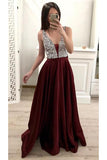 A Line Burgundy V Neck Prom Dresses with Beads Sleeveless Party Formal Dresses JS877
