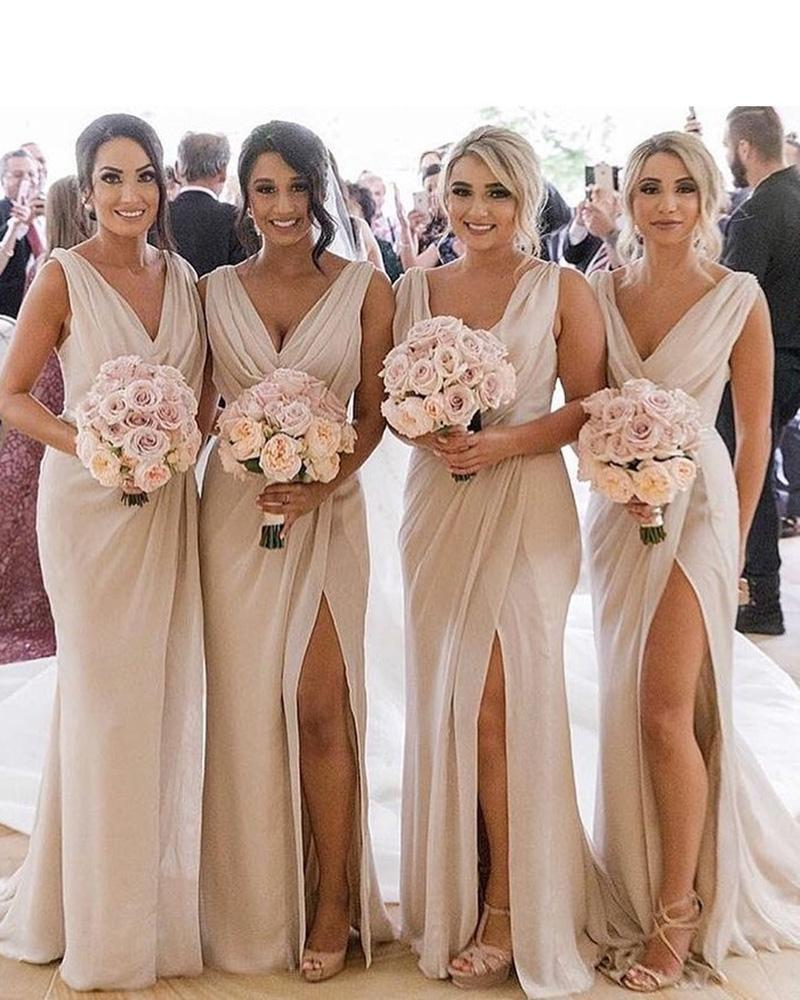 A Line Chiffon V Neck Beige Ruffles Bridesmaid Dresses Long with Slit Prom Dresses JS418