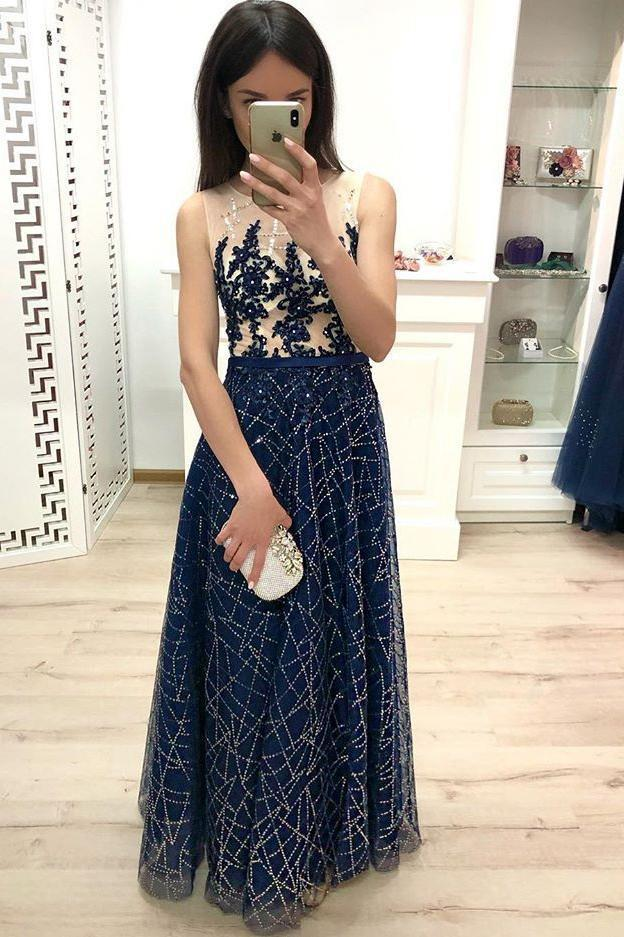 A Line Dark Blue Long Prom Dresses Sequins Sleeveless Evening Party Dresses JS905