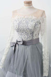 A Line Gray Long Sleeve Scoop Lace Appliques Homecoming Dresses with Belt Prom Dress H1055