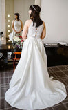A Line Halter Ivory Satin Sleeveless Wedding Dresses Long Lace Prom Dresses JS431